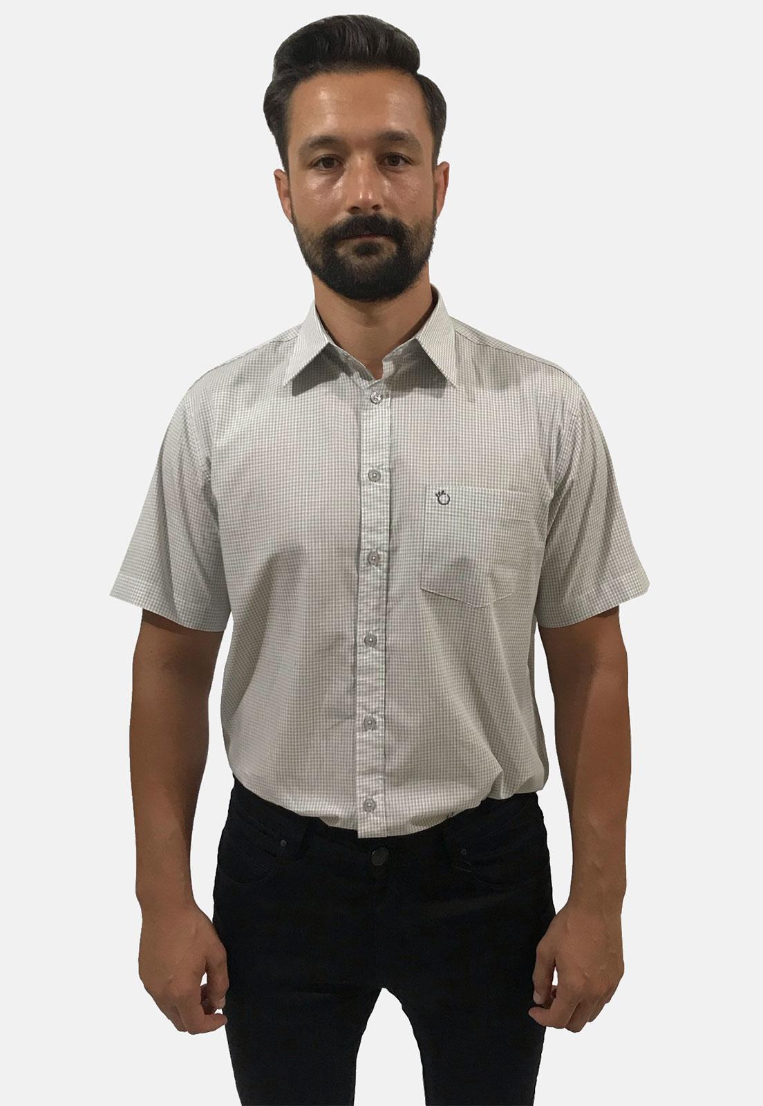 Camisa Social Masculina Olimpo Quadriculada/Xadrez com Bolso Manga Curta