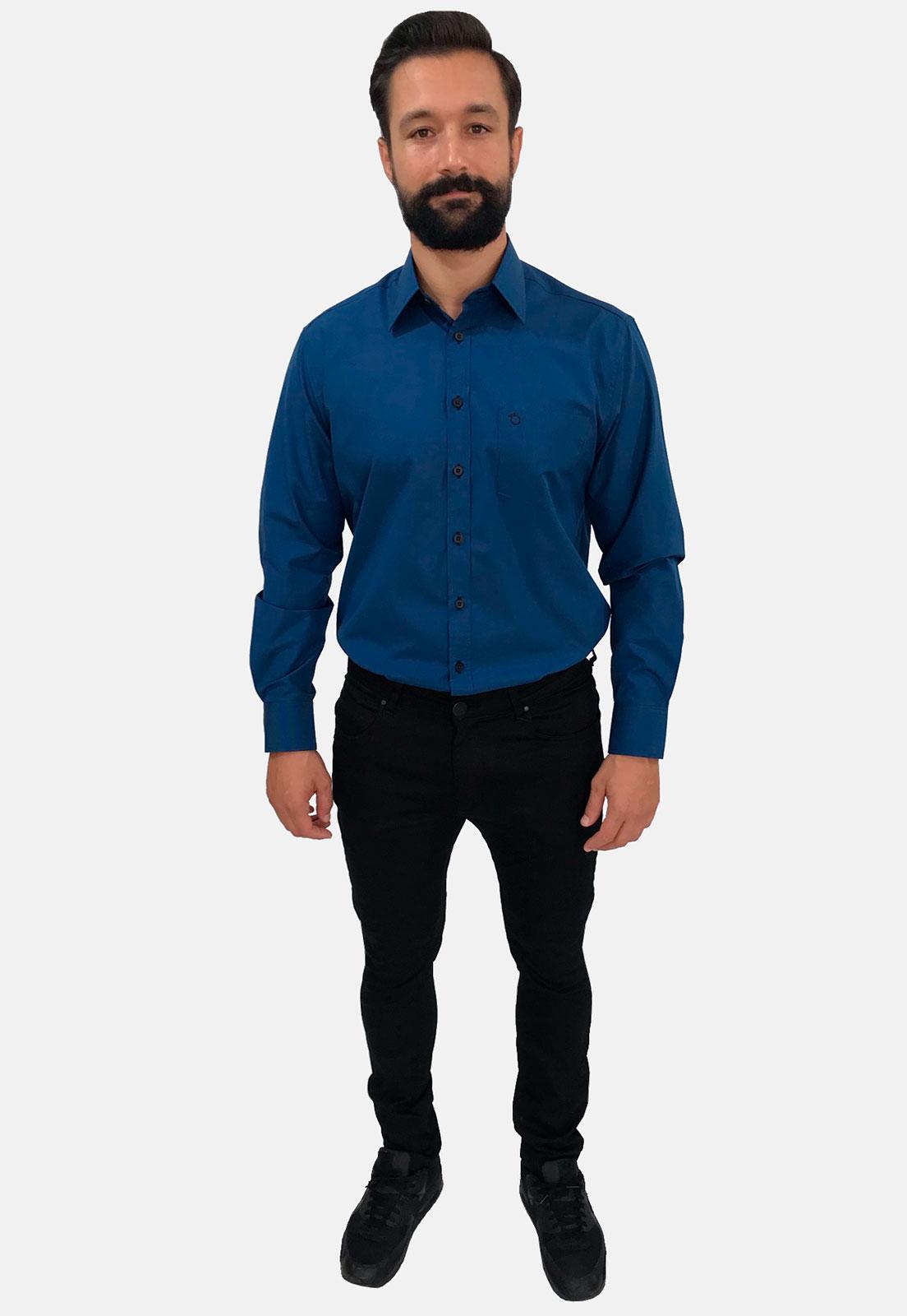 Camisa Social Masculina Olimpo Xadrez com Bolso Manga Longa