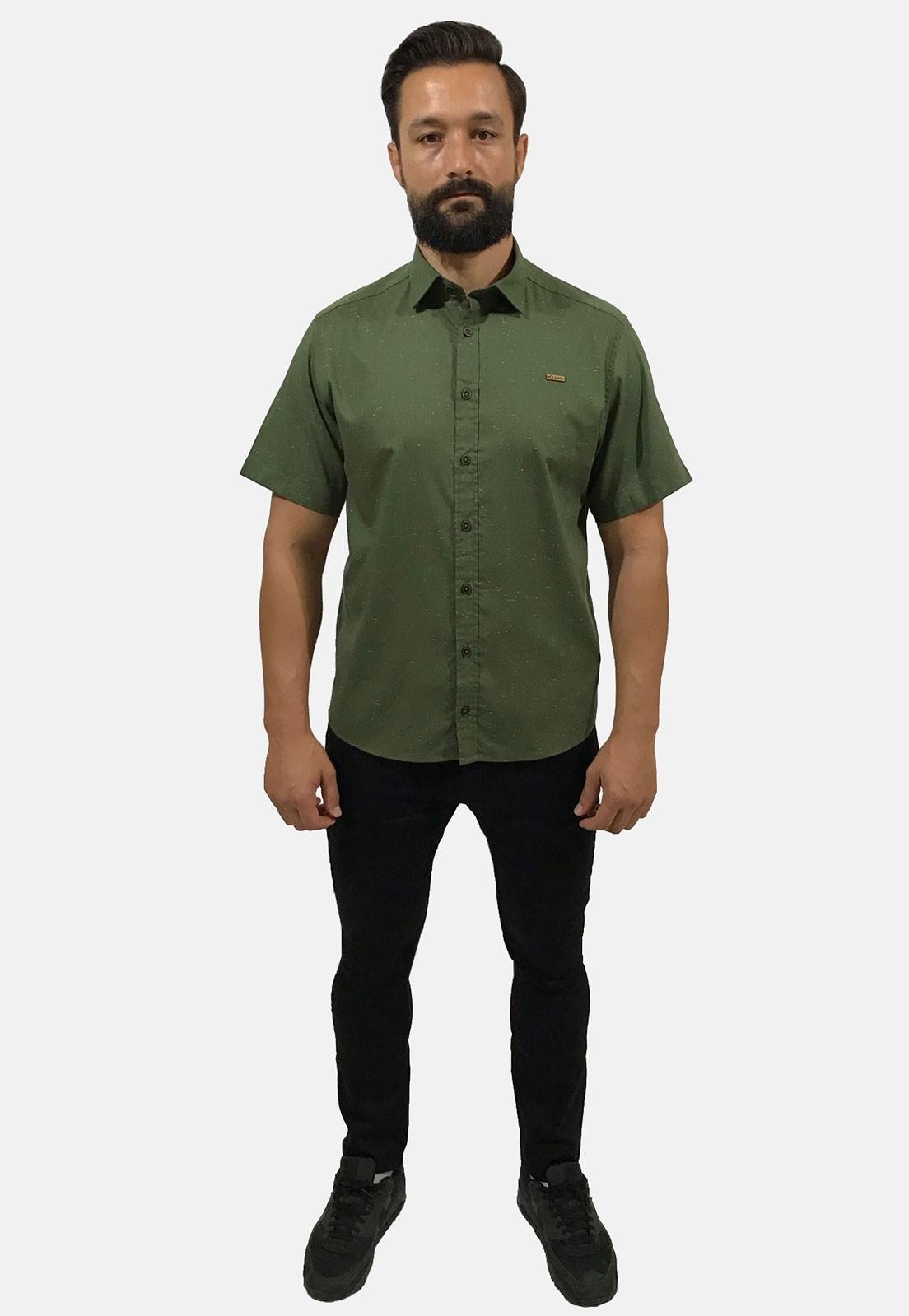 Camisa Social Masculina Slim Olimpo Botonê Manga Curta