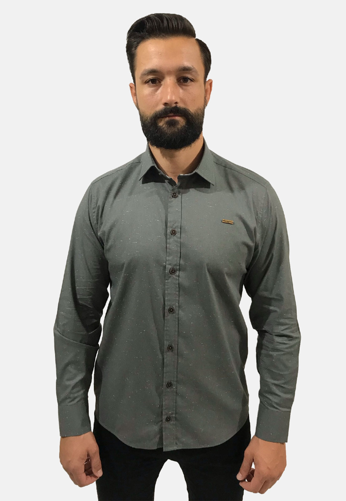 Camisa Social Masculina Slim Olimpo Botonê Manga Longa
