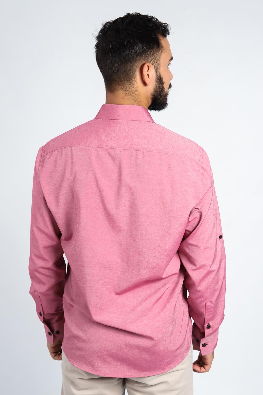 Camisa Social Masculina Slim Olimpo Chambray Liso com Bolso Manga Longa