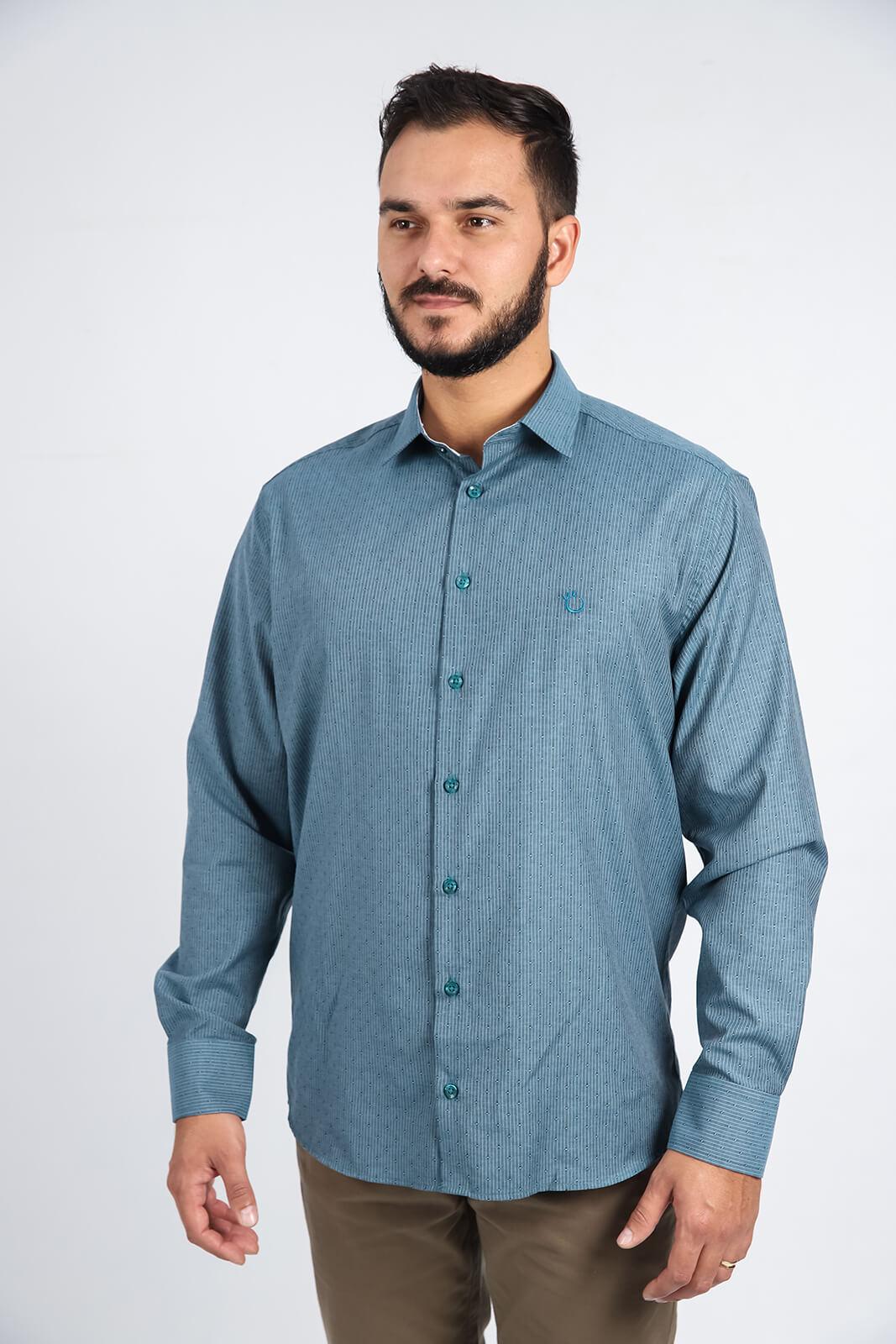 Camisa Social Masculina Slim Olimpo Listrada Maquinetada Manga Longa
