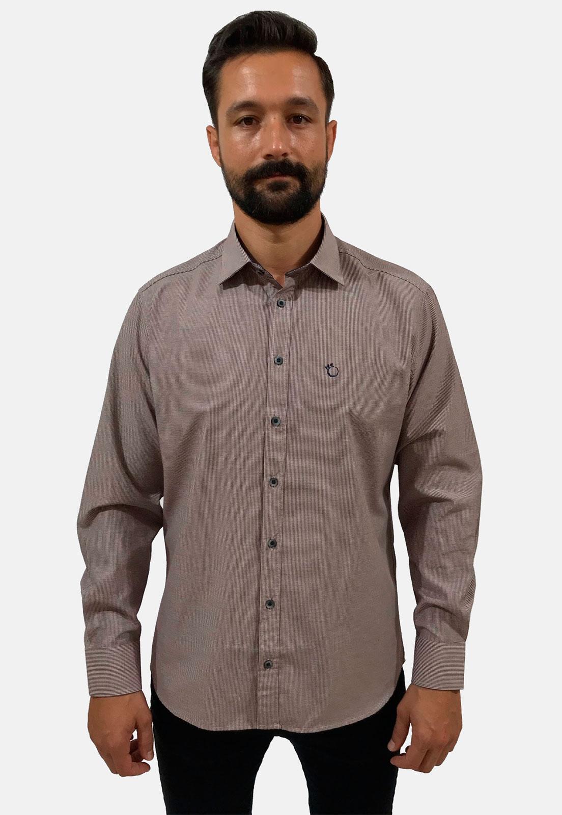 Camisa Social Masculina Slim Olimpo Xadrez Manga Longa