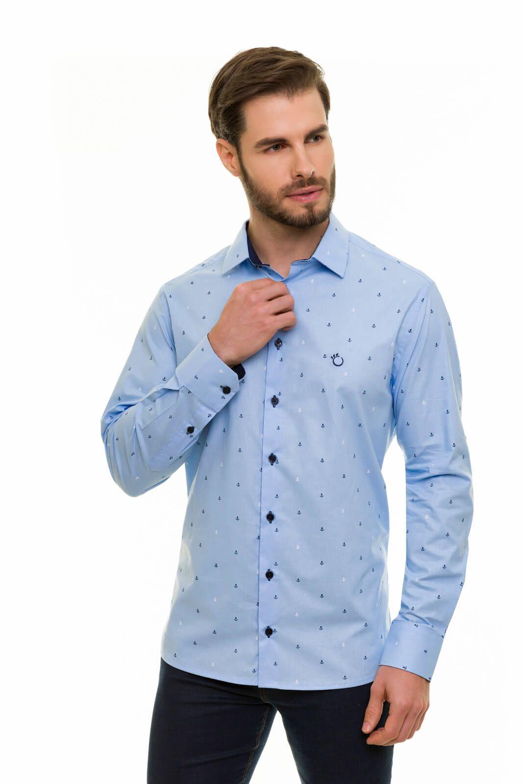 Camisa Social Olimpo Estampada Âncora 100% Algodão Fio 50 Manga Longa