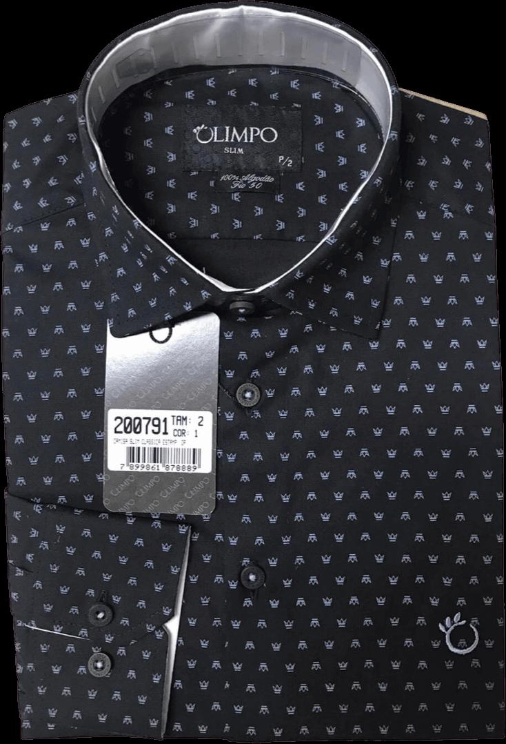 Camisa Social Olimpo Estampada Coroa 100% Algodão Fio 50 Manga Curta