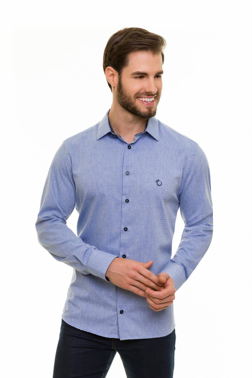 Camisa Social Olimpo Listrada 100% Algodão Fio 50 Manga Longa