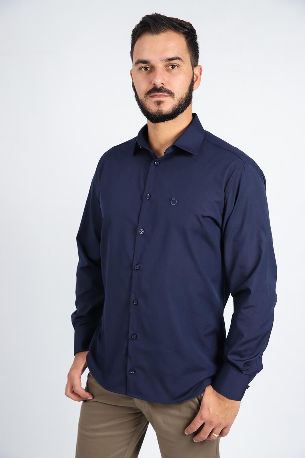 Camisa Social Slim Masculina Lisa Manga Longa Uniforme