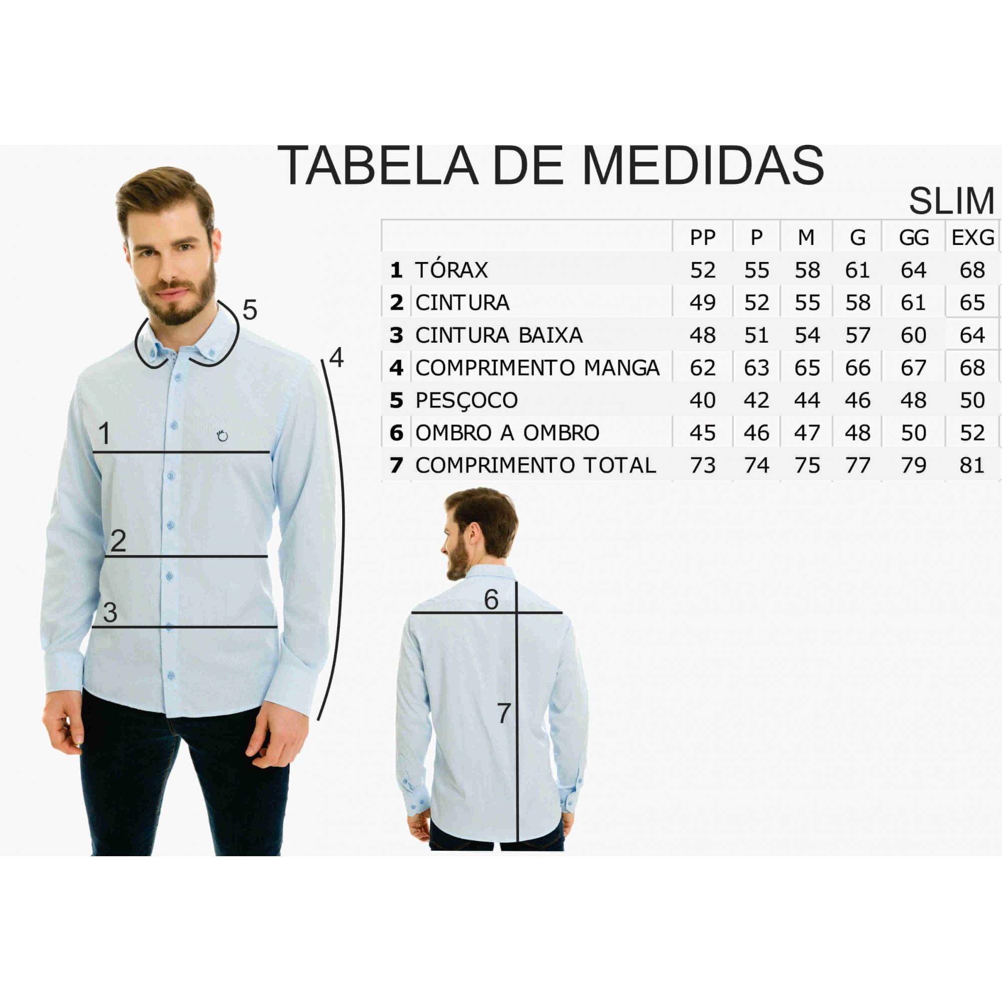 Camisa Social Slim Masculina Olimpo Chambray Manga Longa