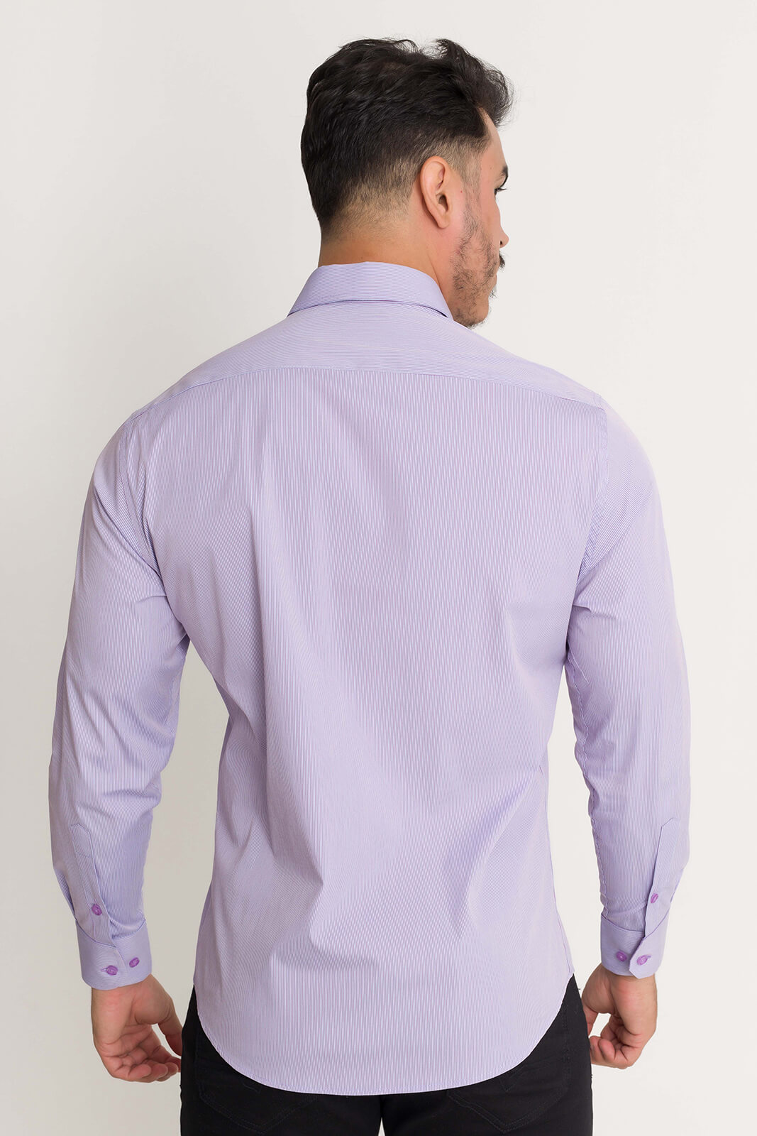 Camisa Social Slim Masculina Olimpo Listrada Manga Longa