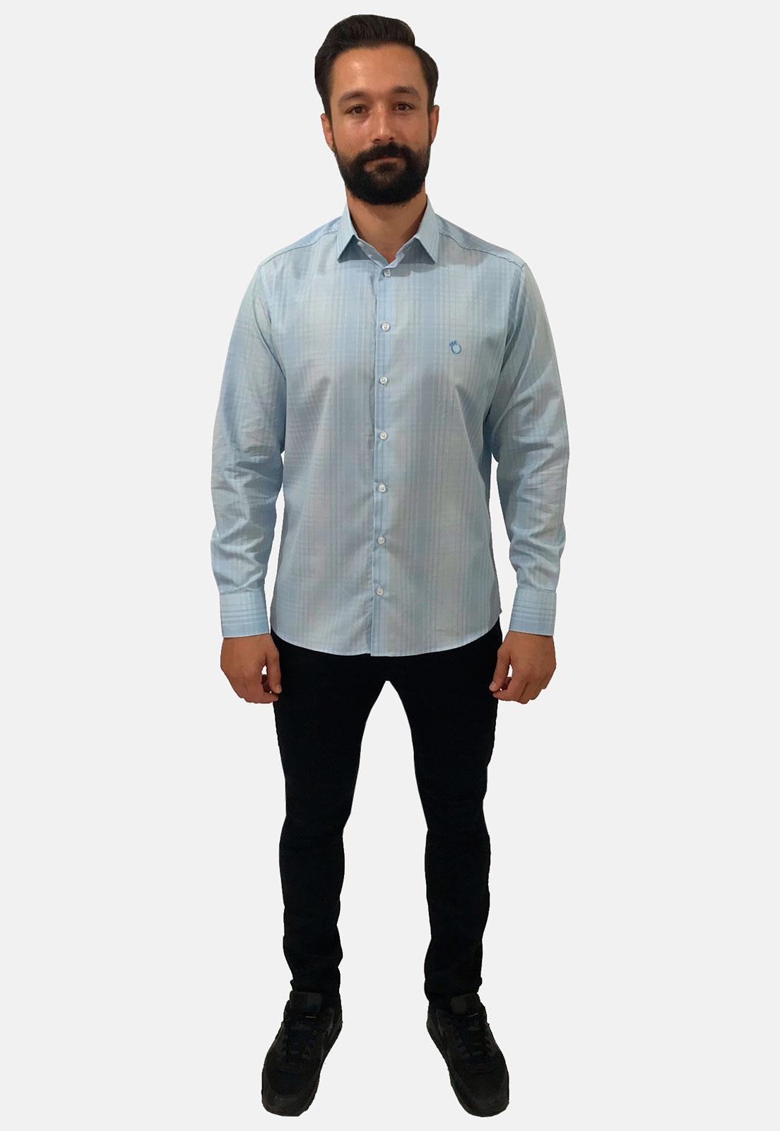 Camisa Social Slim Masculina Olimpo Xadrez Manga Longa