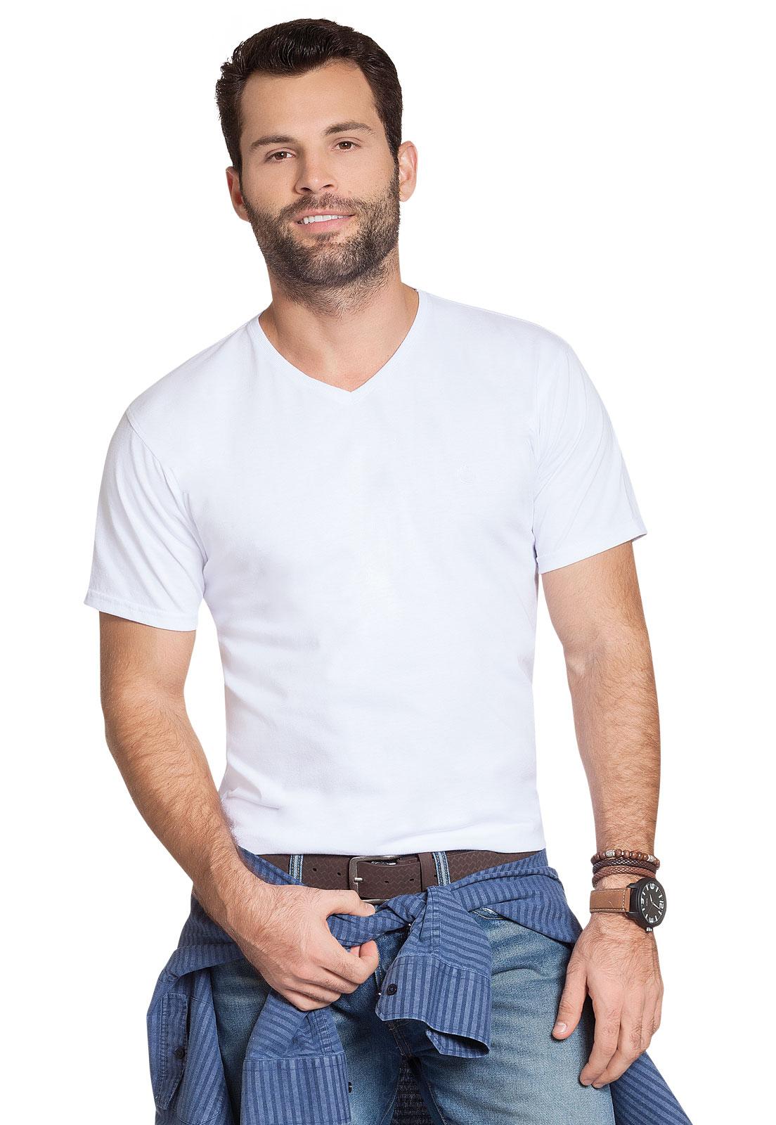 Camiseta Básica Gola V Olimpo Meia Malha Lisa