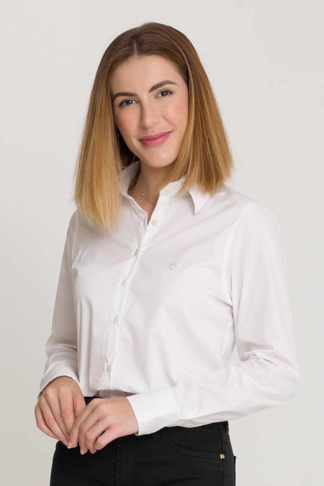 Camisete Social Feminina Branca Lisa Manga Longa