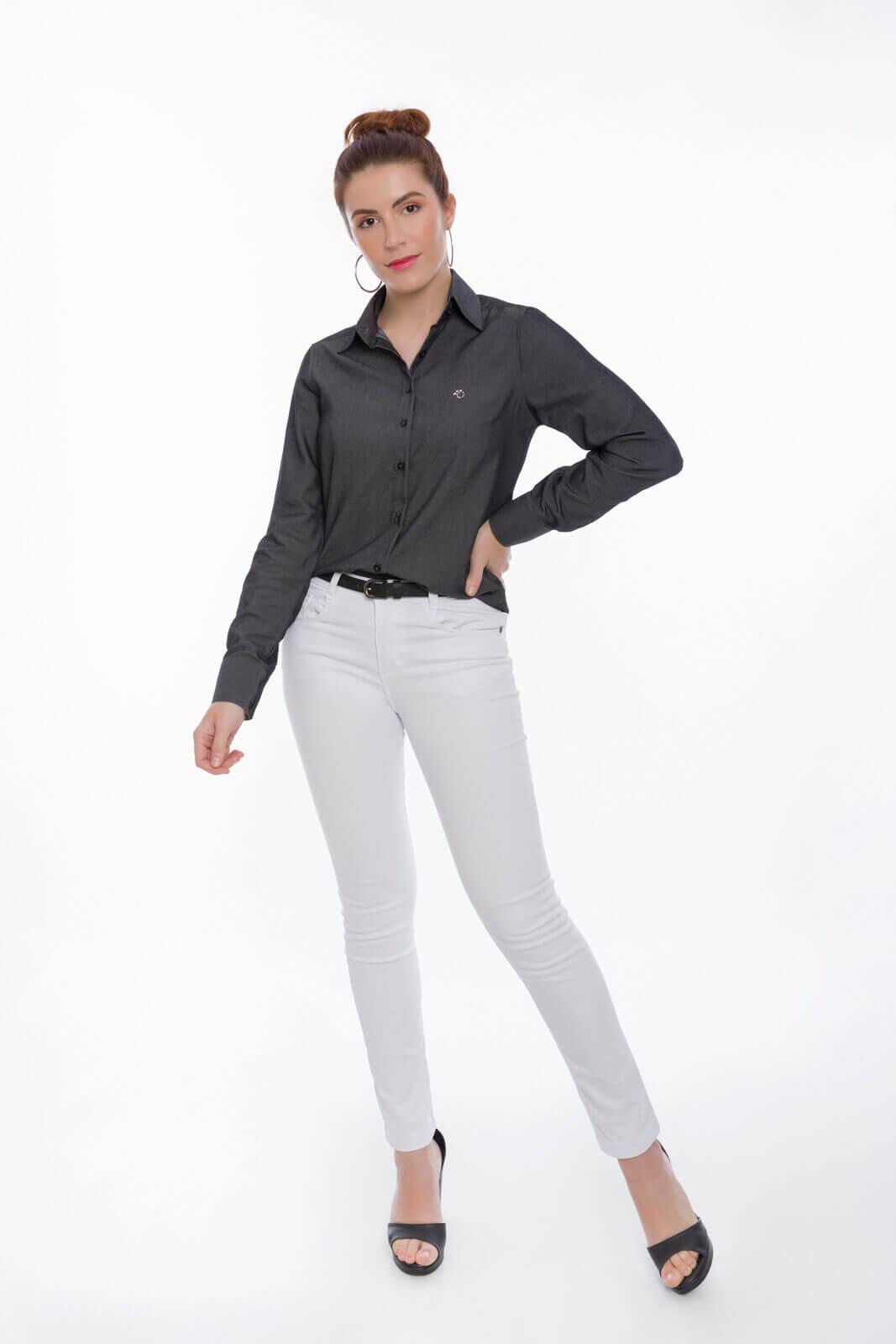 Camisete Social Feminina Olimpo Lisa Fake Jeans Manga Longa