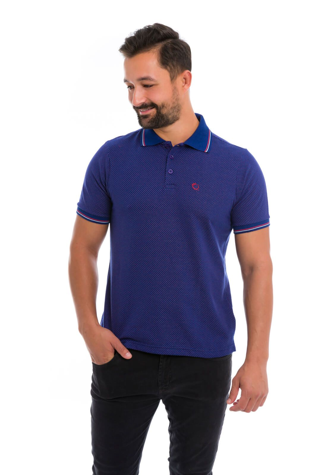 KIT Camisa Gola Polo Olimpo Slim Malha Jaqguard 3 Cores