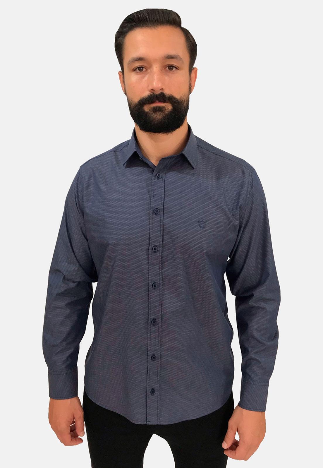 Pai e Filho - Camisa Maquinetada Azul Marinho