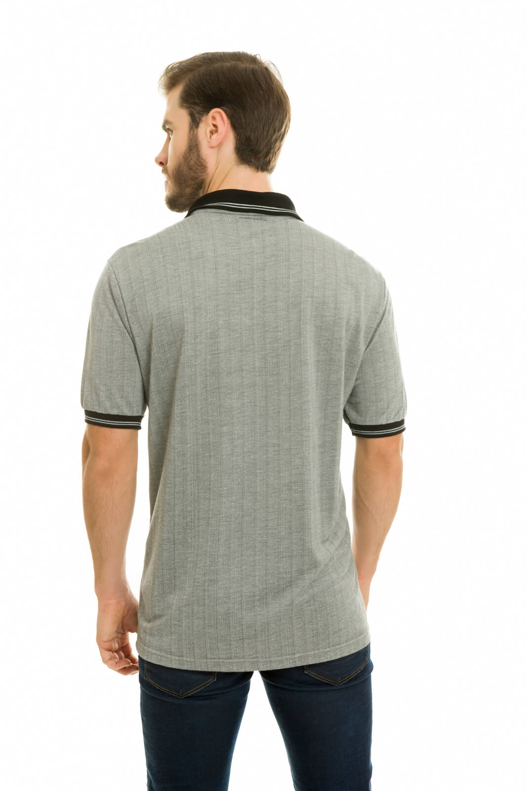Camisa Gola Polo Olimpo Malha Jacguard Listrada Cinza