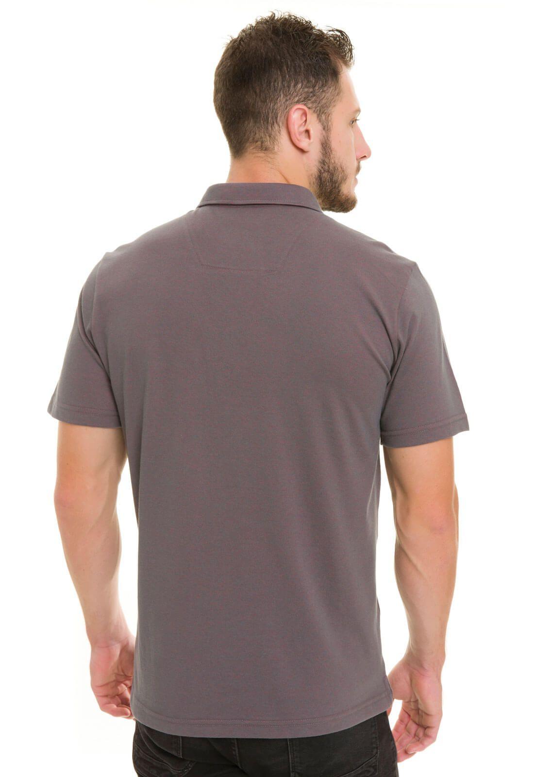 Camisa Gola Polo Olimpo Meia Malha com Bolso Falso Cinza Chumbo