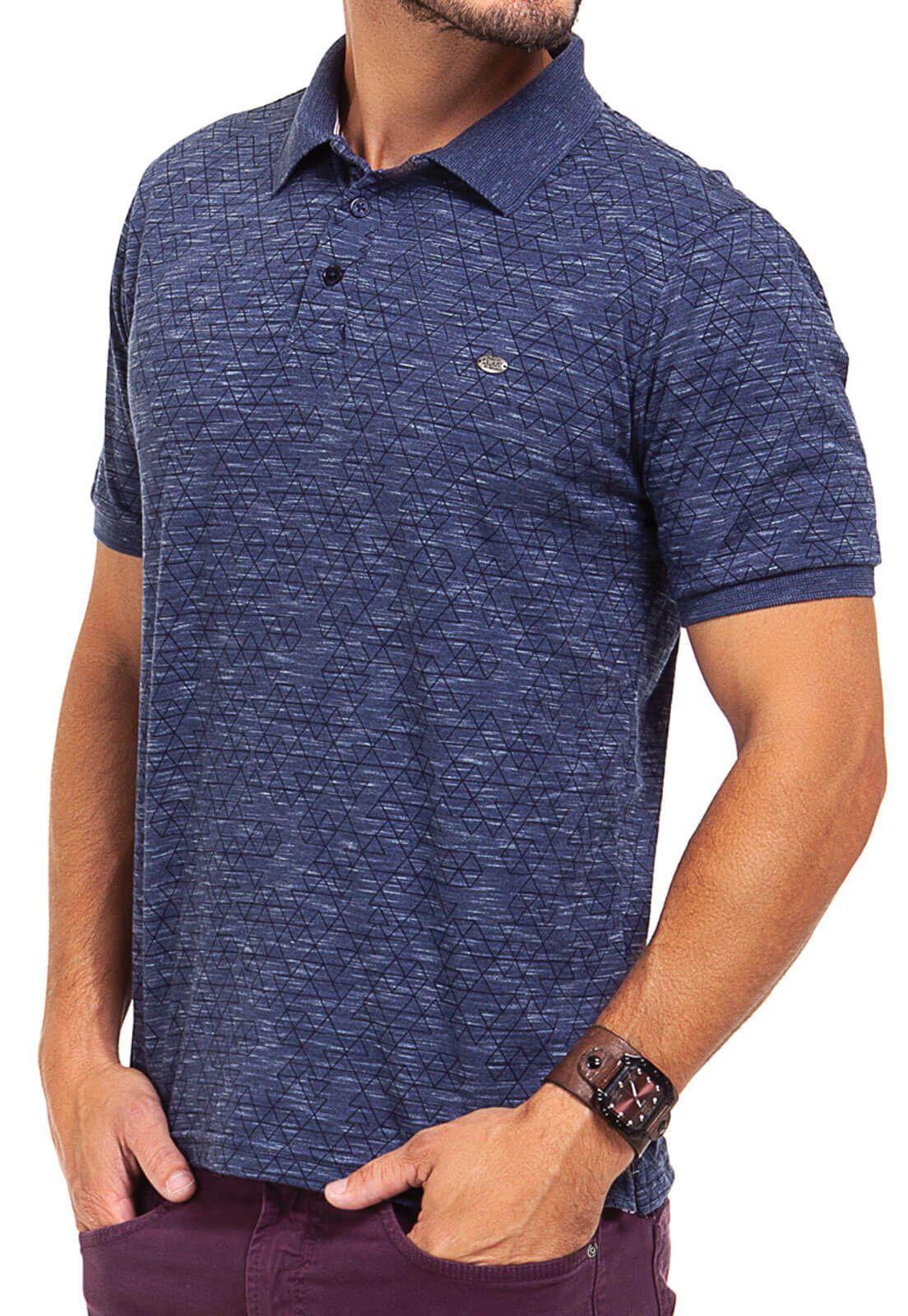 Camisa Gola Polo Olimpo Meia Malha Estampada Azul