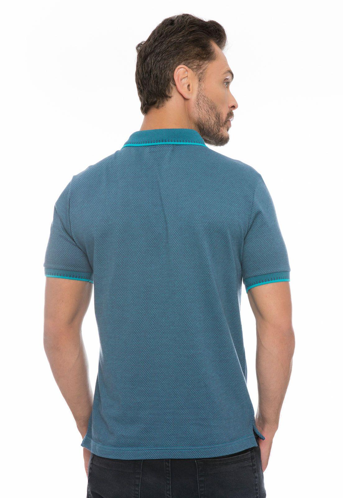 Camisa Gola Polo Olimpo Meia Malha Jacguard Azul