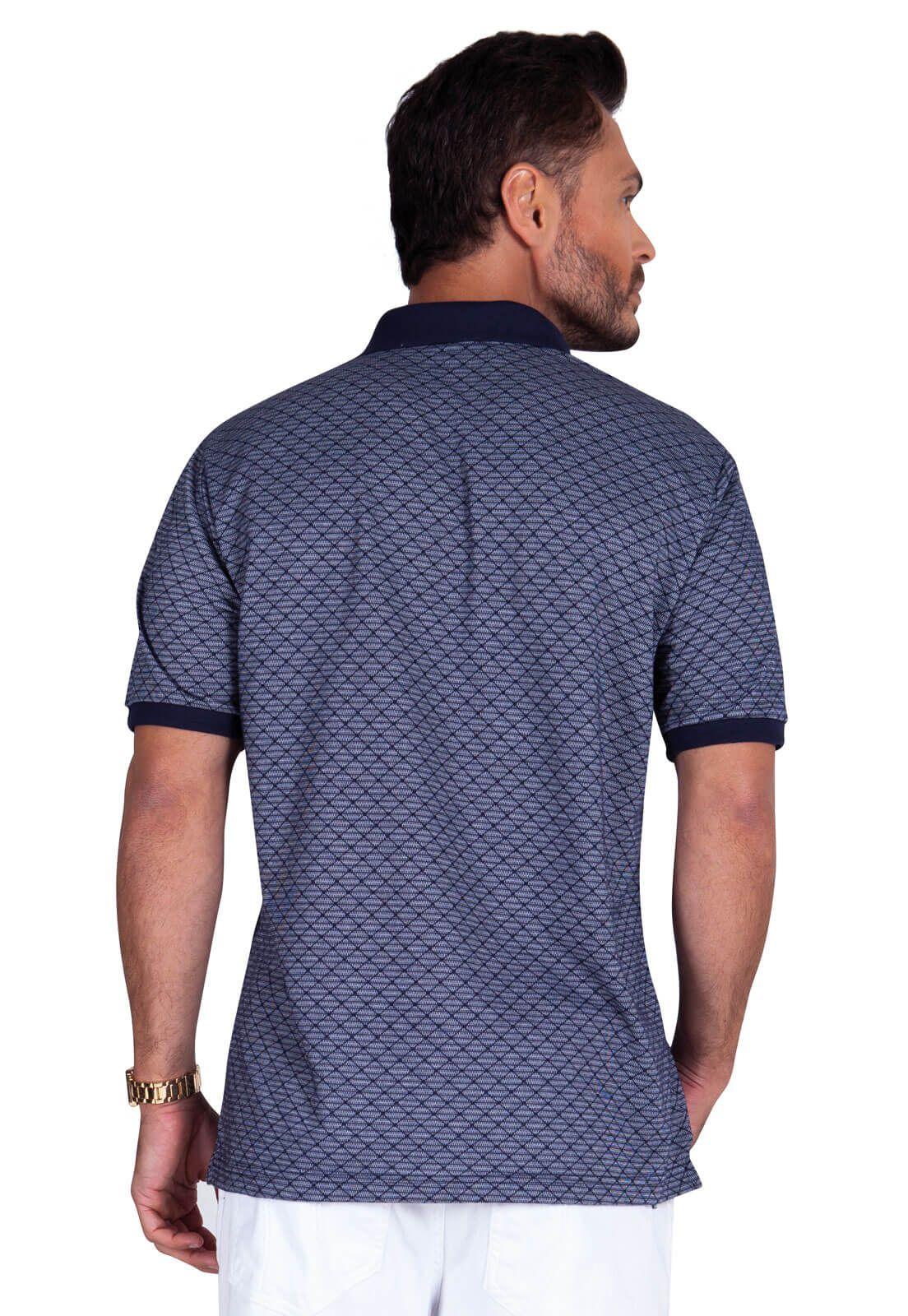 Camisa Gola Polo Olimpo Meia Malha Jacguard com bolso Azul