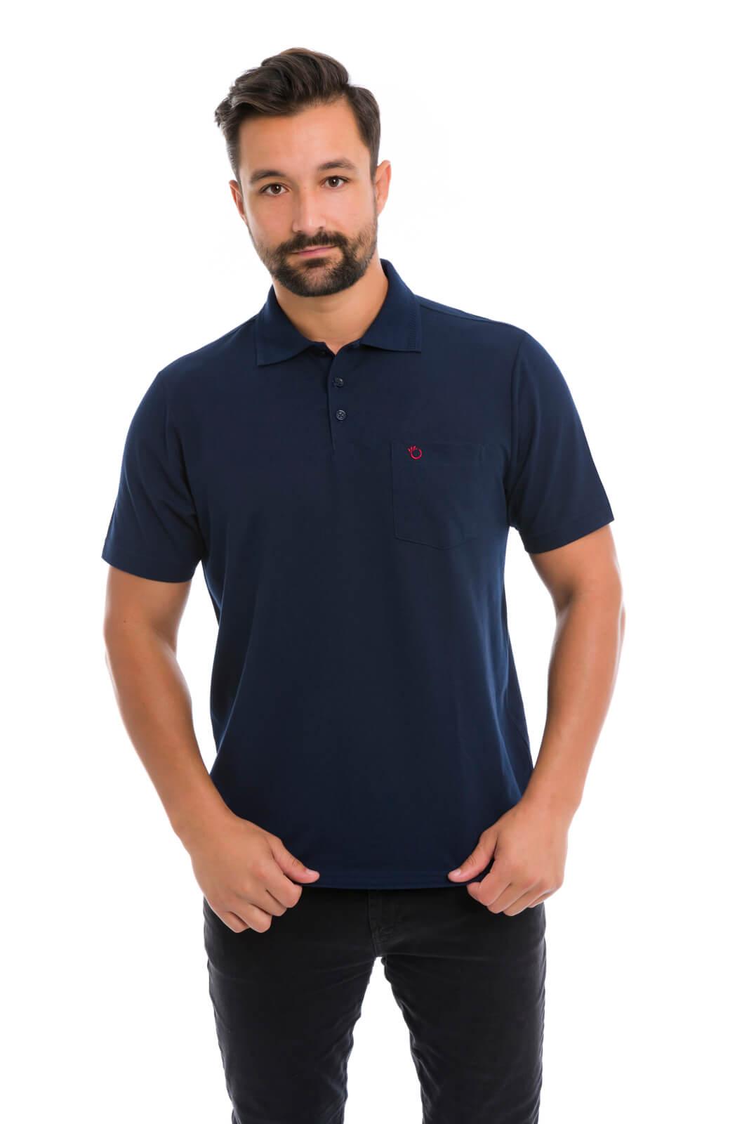 Camisa Gola Polo Olimpo Piquet Liso com Bolso