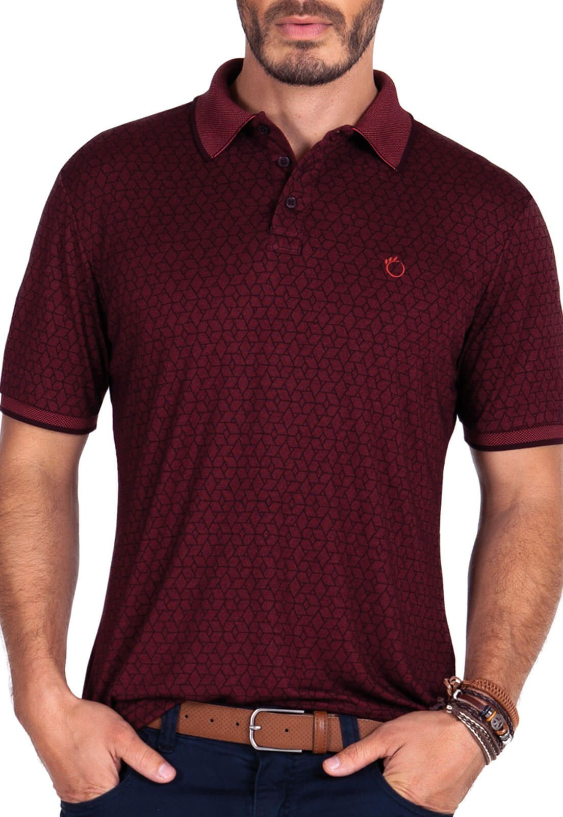 Camisa Gola Polo Olimpo Viscose Estampado Bordô