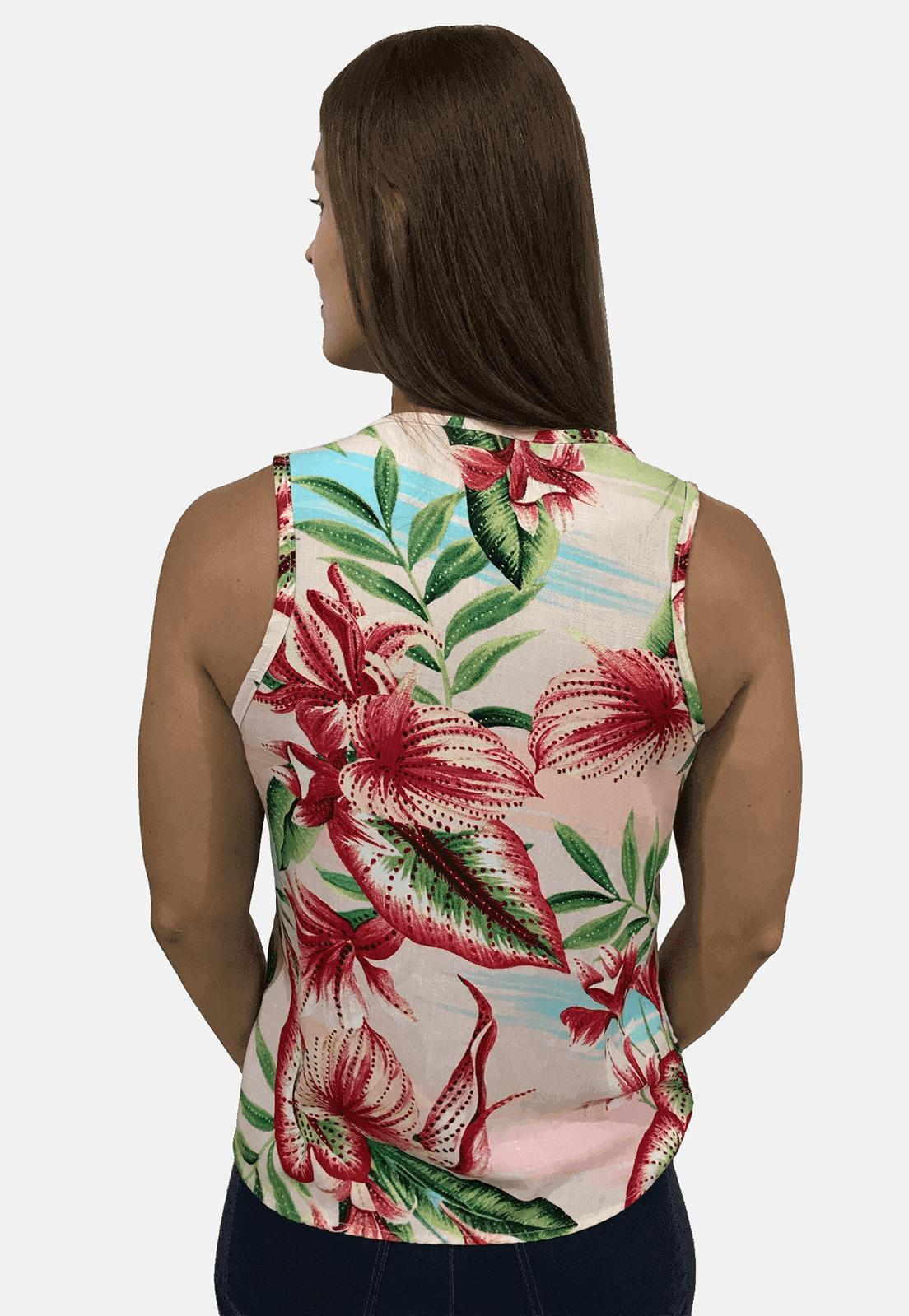 Regata Feminina Olimpo Viscose Floral com Amarração