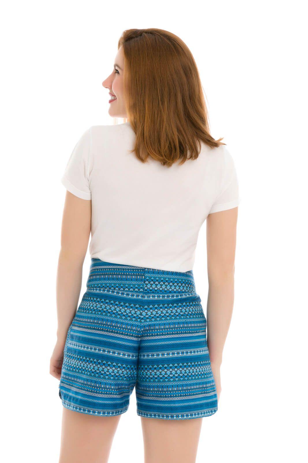Short Feminino Olimpo Tecido Estampado 100% algodão
