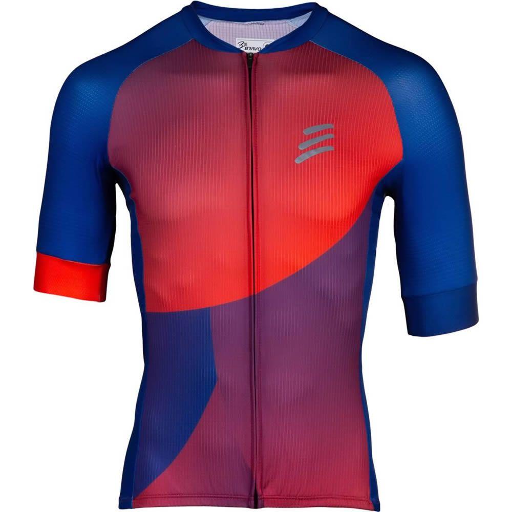 Camisa de Ciclismo Masculino Azul e Vermelho Be Bravo