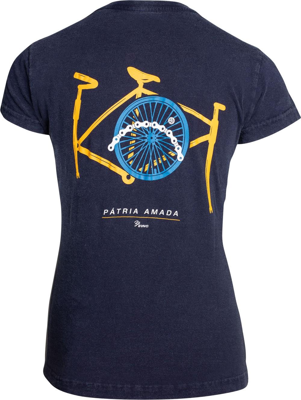 Camiseta Be Bravo Pátria Amada Feminina Azul