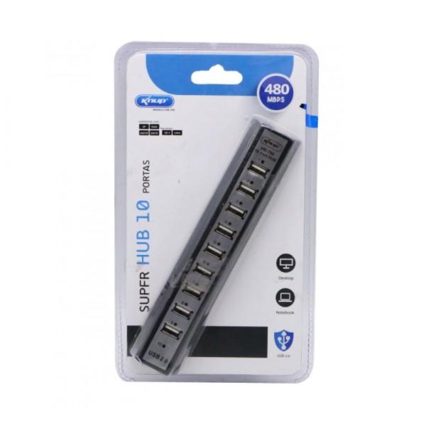 HUB USB 10 PORTAS COM FONTE DE ALIMENTAÇÃO