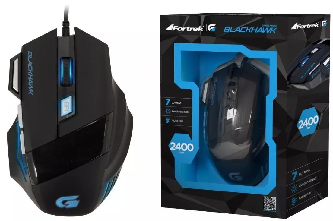 MOUSE GAMER FORTREK BLACKHAWK 2400DPI