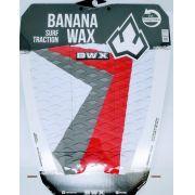 Deck Banana Wax Surf Traction Branco Vermelho e Cinza
