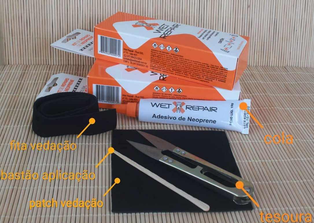Kit Reparo Neoprene Wet Repair para Long John, Wetsuit, Roupa de Borracha