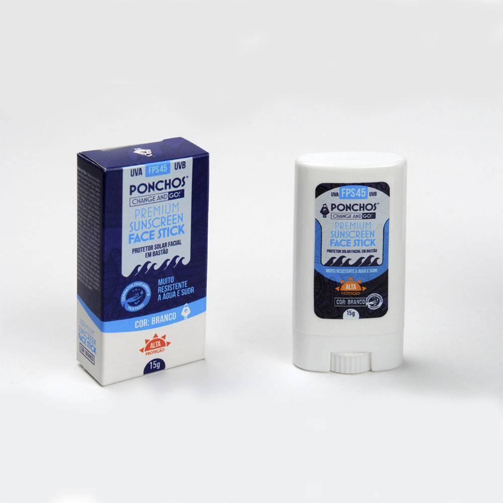 Ponchos Premium Face Stick Sunscreen FPS 45 UVA UVB (Bege)