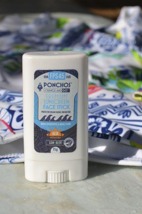 Ponchos Premium Face Stick Sunscreen FPS 45 UVA UVB (Branco Natural)