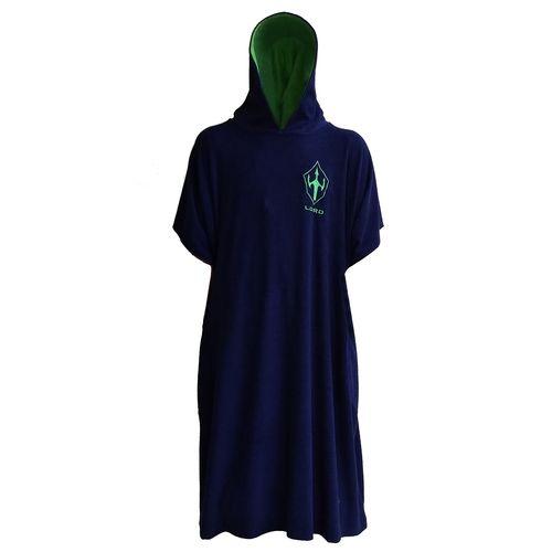 Toalha Poncho Surf Lord - Adulto Masculino - Azul marinho e Capuz Verde