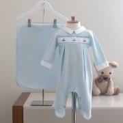 Saída Maternidade Carrinho Azul - Tricotil