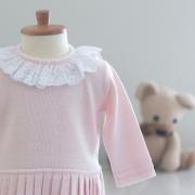 Saída Maternidade Vestido Renda Inglesa Rosa  - Tricô