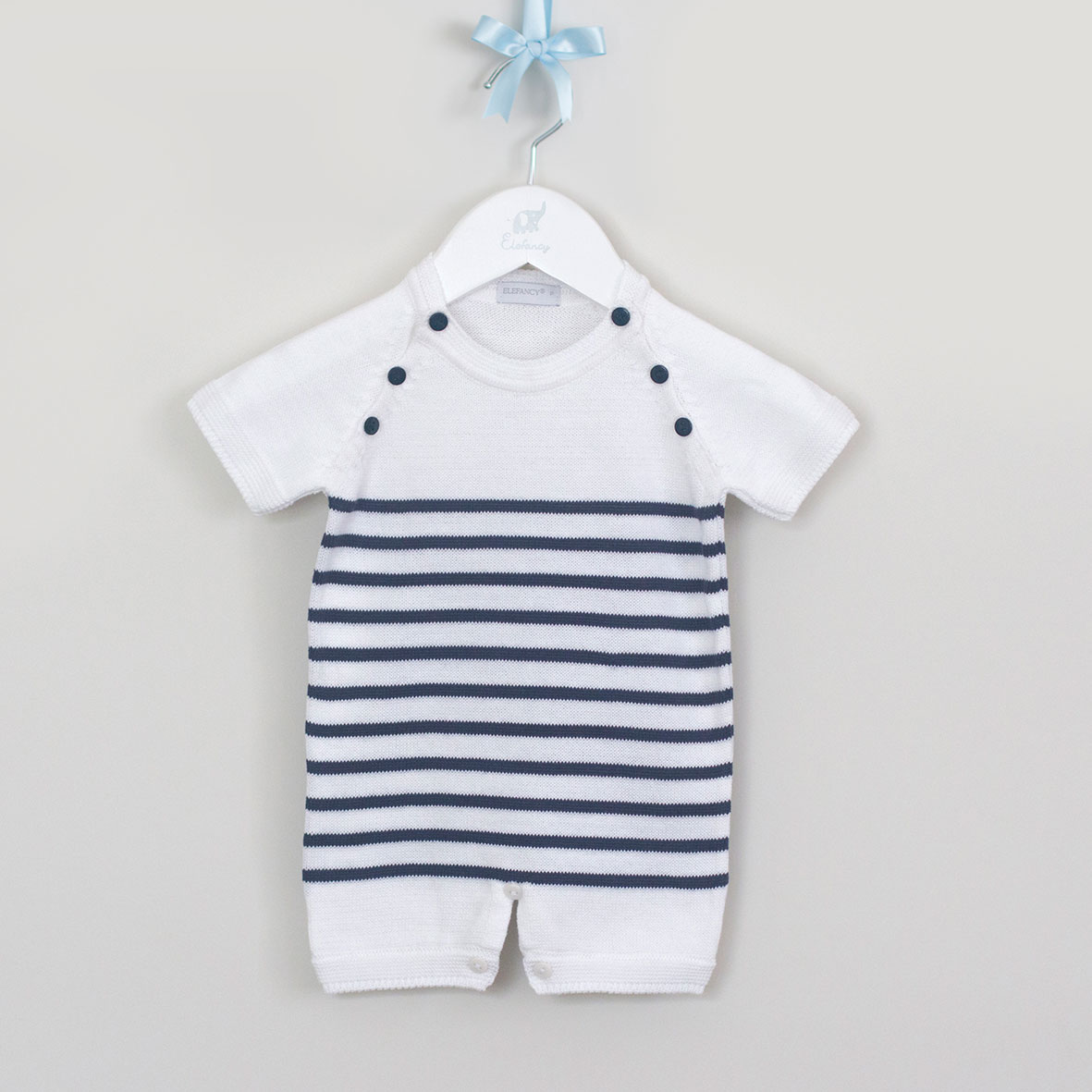 Macacão de bebê curto listrado Navy