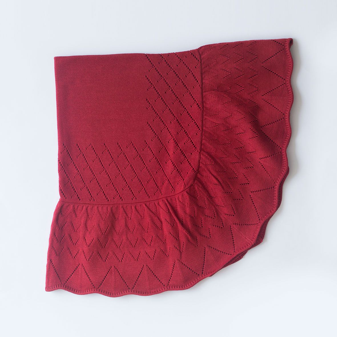 Manta Babado Vermelha - Tricô