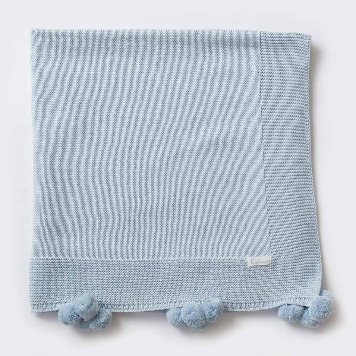 Manta Pompom Azul - Tricô