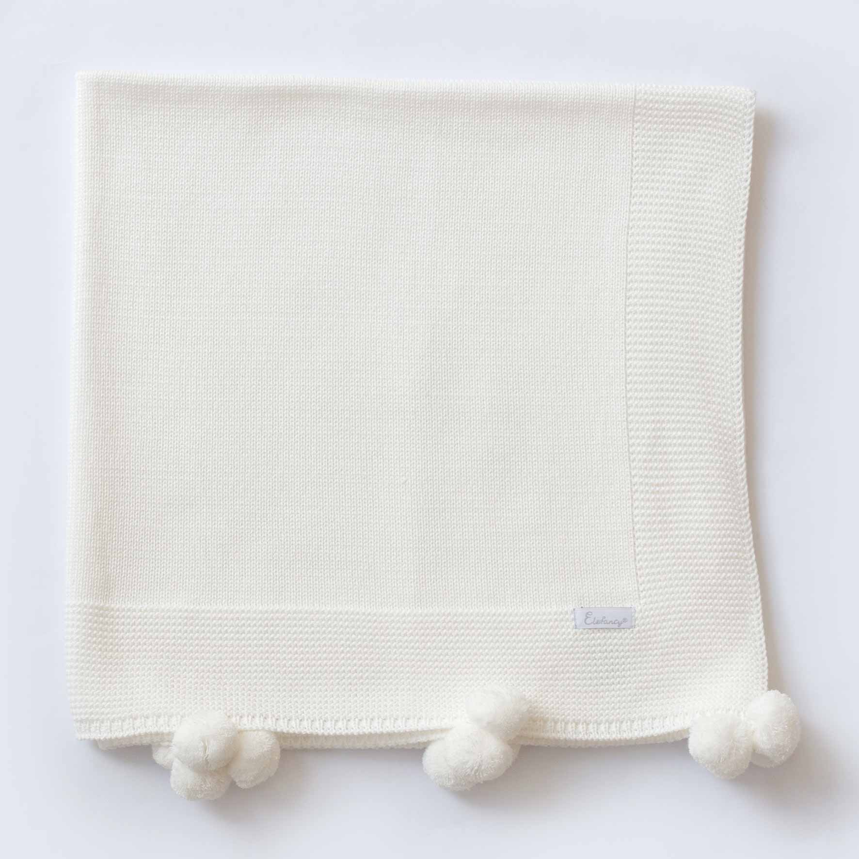 Manta Pompom Off White - Tricô