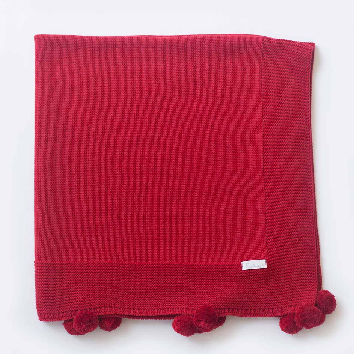 Manta Pompom Vermelha - Tricô