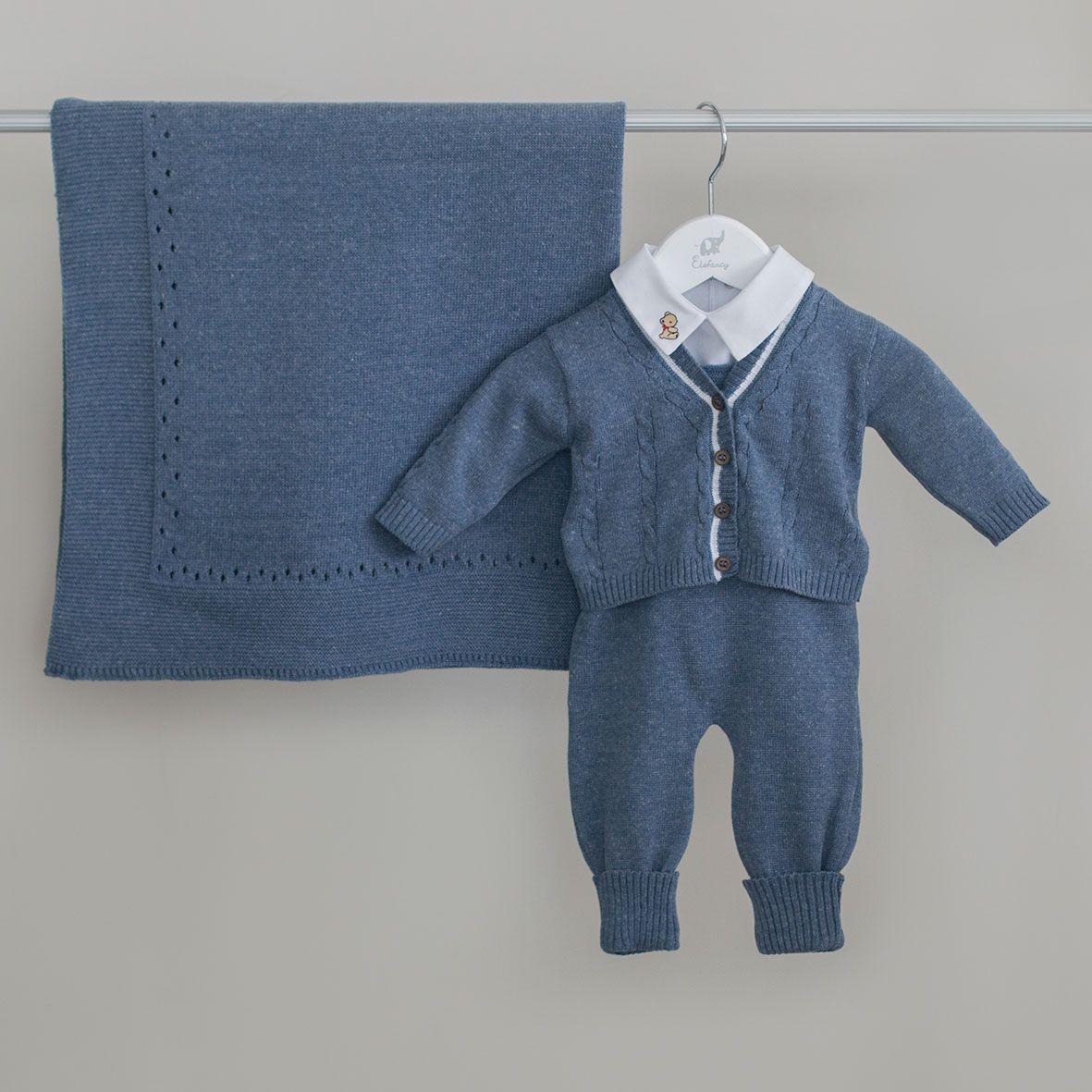 Saída Maternidade Blue - Tricô