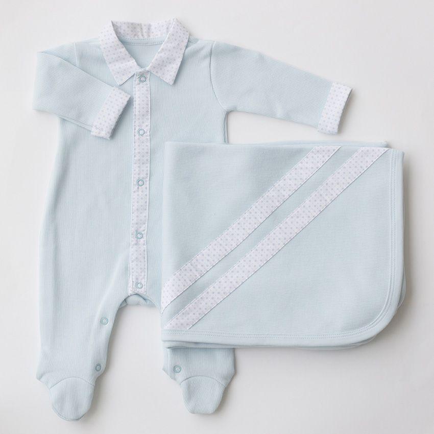 Saída Maternidade Clássica Azul - Tricotil
