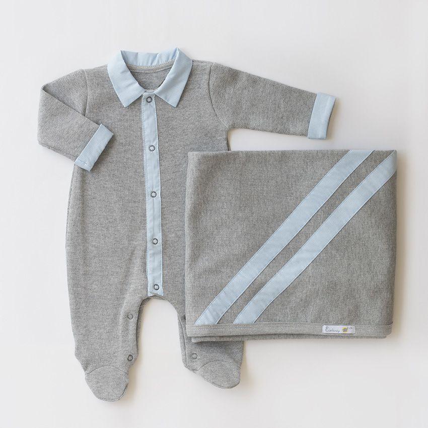 Saída Maternidade Felicidade Cinza - Tricotil