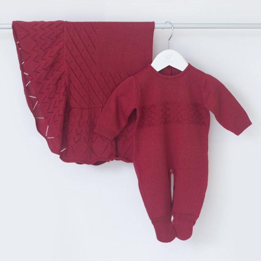 Saída Maternidade Amor Vermelha - Tricô