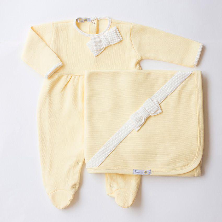 Saída Maternidade Laço Amarela - Tricotil