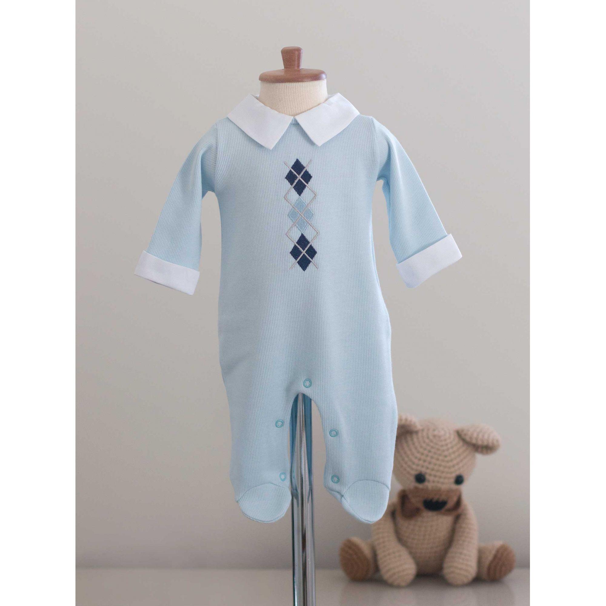 Saída Maternidade Losango Azul - Tricotil
